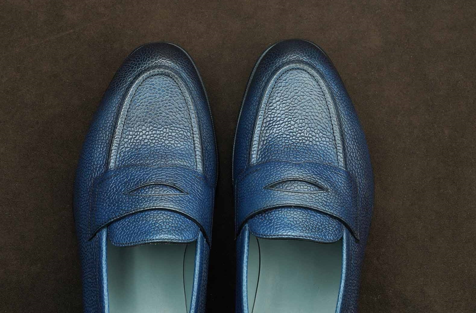 Immagine di EDWARD GREEN - PICCADILLY - MOCASSINO CLASSICO - NAVY COUNTRY